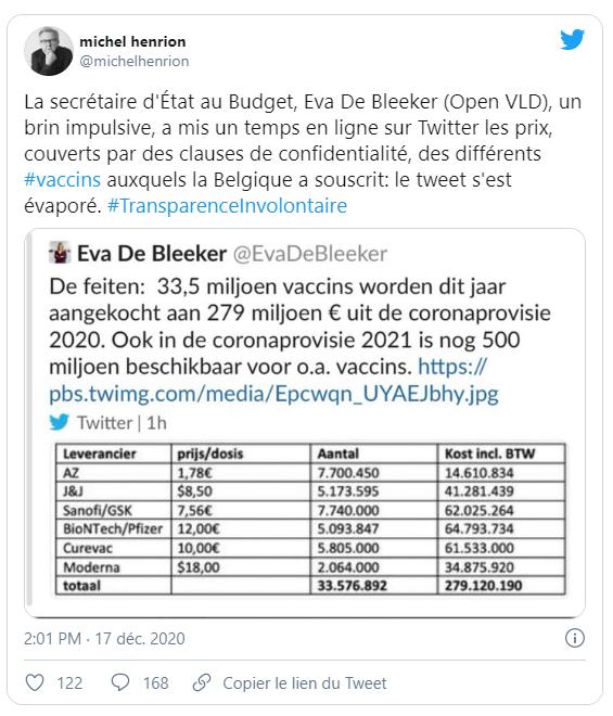 tweet prix vaccin